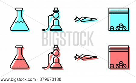 Set Line Marijuana Joint, Test Tube And Flask, Hookah And Plastic Bag Of Drug Icon. Vector