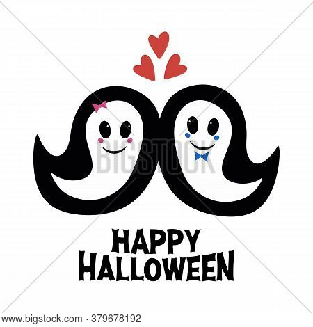 Cute Girl And Boy Ghosts In Love And Boo Word. Halloween Greeting Card. Isolated On White Background
