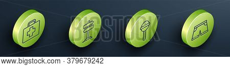 Set Isometric First Aid Kit, Road Traffic Signpost, Lollipop And Swimming Trunks Icon. Vector
