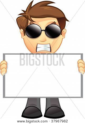 Business Man - Blank Sign - 11