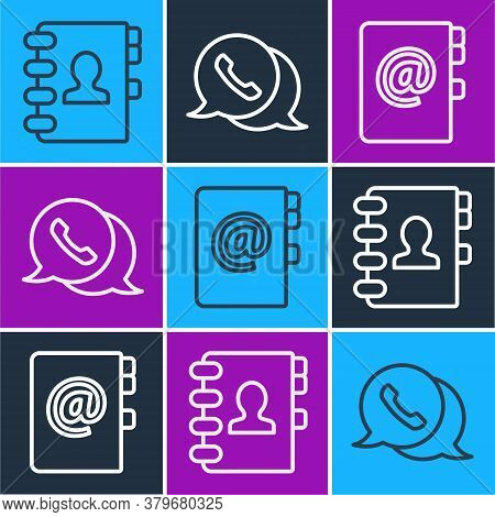 Set Line Address Book, Address Book And Telephone With Speech Bubble Chat Icon. Vector
