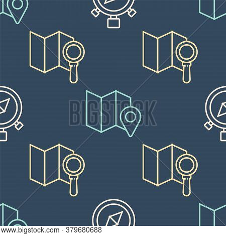 Set Line Compass, Search Location And Folded Map With Location Marker On Seamless Pattern. Vector