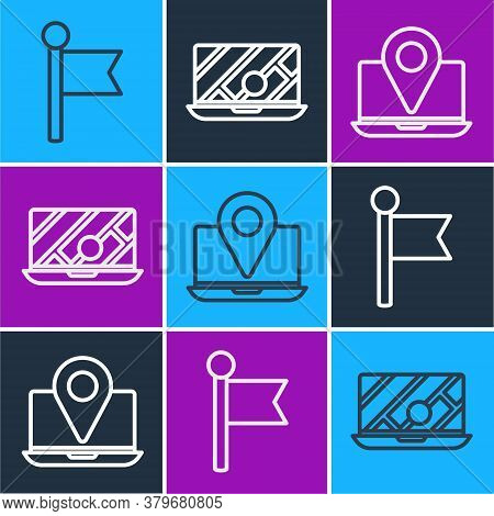 Set Line Location Marker, Laptop With Location Marker And City Map Navigation Icon. Vector