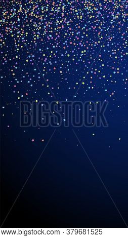 Festive Incredible Confetti. Celebration Stars. Colorful Stars Small On Dark Blue Background. Great