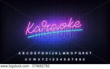 Karaoke Neon Template. Neon Sign Of Karaoke Lettering