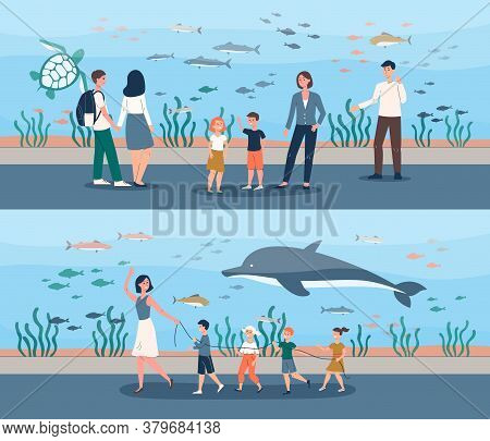 People At Giant Fish Aquarium - School Trip And Cartoon Family With Kids