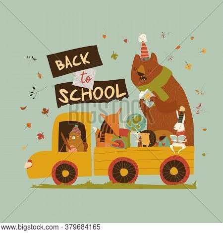 Happy Cartoon Animals Going To The School By Car