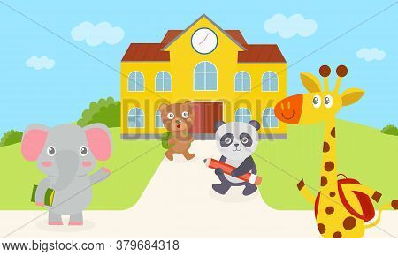 Elephant, Bear, Panda And Giraffes Are Walking Into School. Giraffe And Bear Carrying A Bag Green An