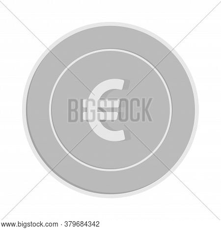 European Union Euro Coin Isolated On White Background. Eur Silver Black And White Coin. Europe Metal