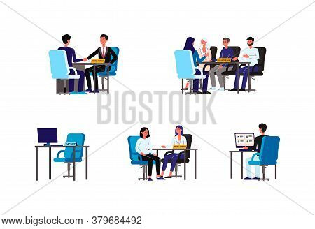 People At Hr Interview - Isolated Set Of Interviewers And Candidates
