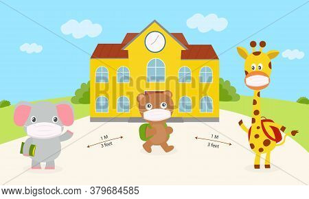 Elephant, Bears And Giraffes Wear Mask Are Walking To School New Normal Concept. Set Cute Animal Wea