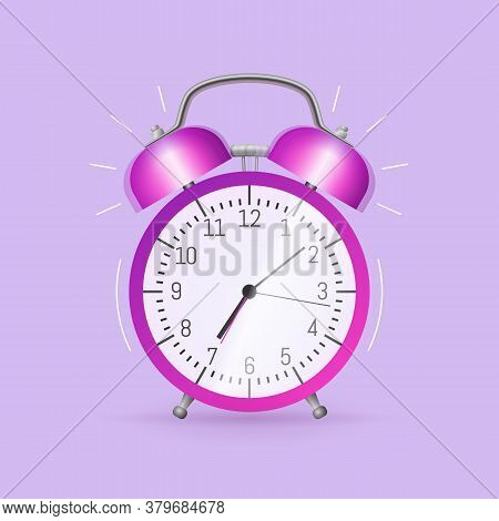 Classic Alarm Clock. Morning Wake Up, Time To Get Up In School And At Work Concept Flat Vector Illus