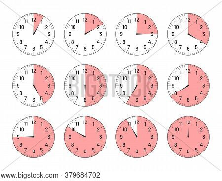 Clock Faces With Different Time Intervals Set. Clock And Watch Dial Plates With Arabic Numerals And