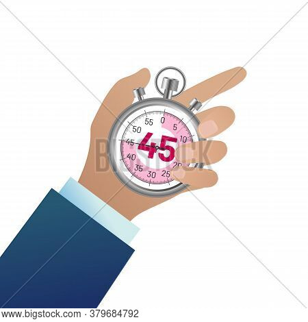 Businessman Hand Holding Stopwatch. Male Hand Pushing Button. Time Management, Deadline And Punctual