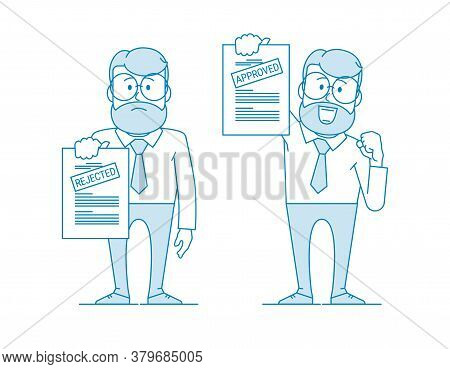 Man Shows A Document. Variant With An Approved Inscription And Rejection. Getting Permission. Charac