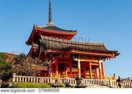 Kyoto, Japan, 08/11/19. One Of The Orange Buddhist Temple Buildings In Kiyomizu-dera Temple Complex