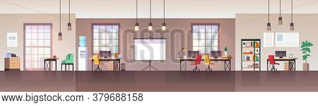 Office Interior. Modern Workplace With Furniture Chair, Desk And Computer, Working Environment Empty