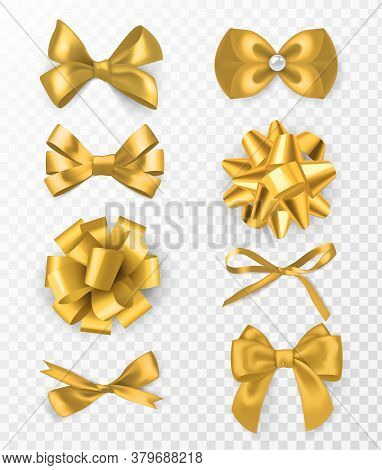 Gold Decorative Bows. 3d Silk Ribbon With Decorative Bow, Golden Holiday Packaging Element, Card Or
