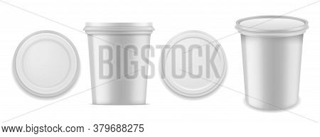 Yoghurt Container. Realistic White Blank Plastics Packaging For Milk Dessert Product. Closed Round B