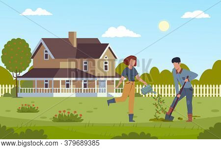 Home Gardening. Man Digging With Shovel And Girl Watering Plant, Planting Tree, Working Together In
