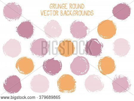 Vector Grunge Circles. Cool Watercolor Stamp Texture Circle Scratched Label Backgrounds. Circular Ic