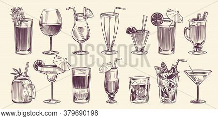 Sketch Cocktails. Hand Drawn Different Cocktail Set, Alcohol Drink In Glass For Party Restaurant Or