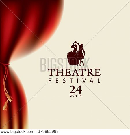Poster For A Theatre Festival With Red Velvet Curtain And Silhouettes Of A Dancing Pair Of Actors In