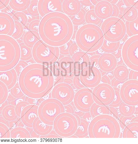 European Union Euro Copper Coins Seamless Pattern. Breathtaking Scattered Pink Eur Coins. Success Co