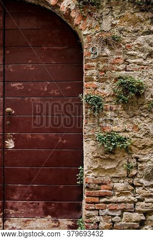 An Entrance With A Closed Brown Door In A Stone Wall With Sprouted Grass.