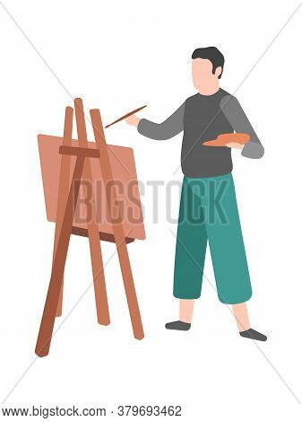 Man Paints. Modern Cartoon Male Character Draws On Easel, Talent Painter With Artwork And Paintbrush