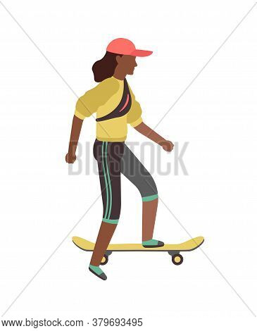 Man Riding On Skateboard. Simple Young Character Skater Guy Skating On Board. Outdoor Activities In