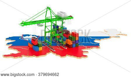 Freight Shipping In Slovenia Concept. Harbor Cranes With Cargo Containers On The Slovenian Map. 3d R