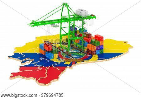 Freight Shipping In Ecuador Concept. Harbor Cranes With Cargo Containers On The Ecuadorian Map. 3d R