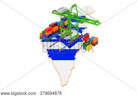 Freight Shipping In Israel Concept. Harbor Cranes With Cargo Containers On The Israeli Map. 3d Rende
