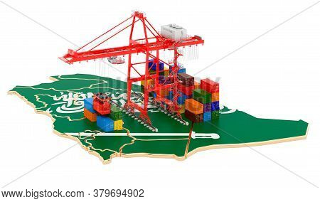 Freight Shipping In Saudi Arabia Concept. Harbor Cranes With Cargo Containers On The Saudi Arabian M