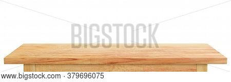 Empty Wooden Tabletop Isolated On White Background. Rustic Desk Wood For Placement Or Montage Produc