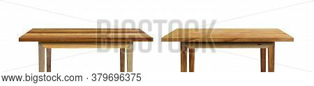 Wood Table Isolated On White Background. Object With Clipping Path.