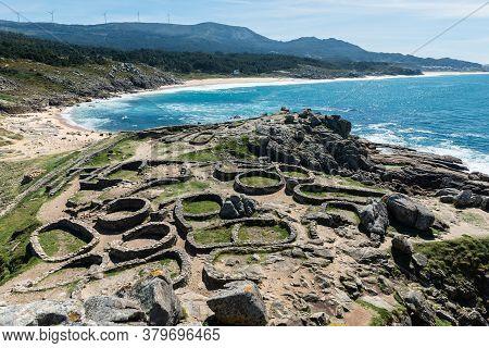 Panorama View Of The Castro De Baroña, A Fort Located In The Parish Of Baroña In A Coruña, Galicia.