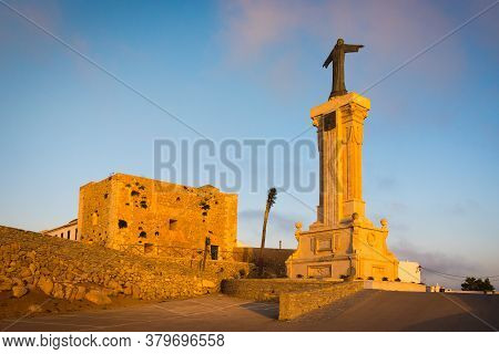 Es Mercadal, Menorca - October 13, 2019: The Monastery And Christ Monument On The Top Of El Toro Mou