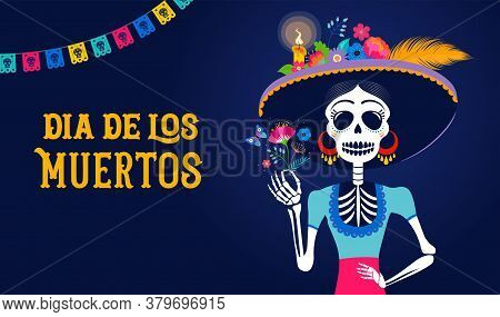Dia De Los Muertos, Day Of The Dead, Mexican Holiday, Festival. Woman Skull With Make Up Of Catarina