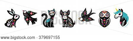 Day Of The Dead, Dia De Los Muertos, Animals Skeletons Collection, Dog, Bird, Unicorn, Bunny And Cat