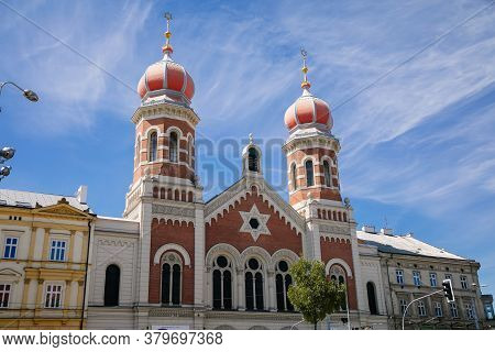 The Great Synagogue In Plzen, The Second Largest Synagogue In Europe. Front Side Facade Of The Jewis