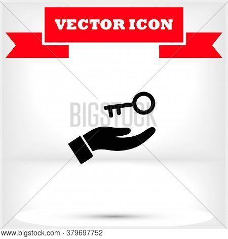 Key In Hand Icon , Lorem Ipsum Flat Design