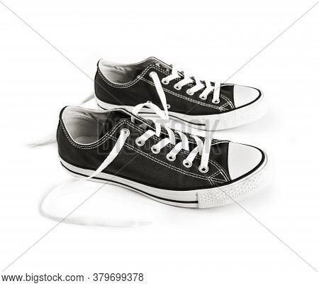 Black Generic Sneakers Isolated On White Background