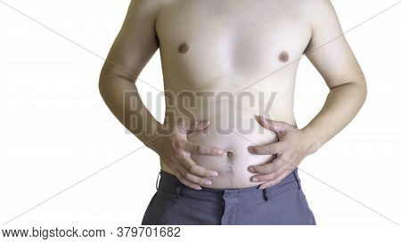 The Young Man Has A Fat Belly. Have A Lot Of Belly Fat Which Is Not Good For His Health Causing Dise