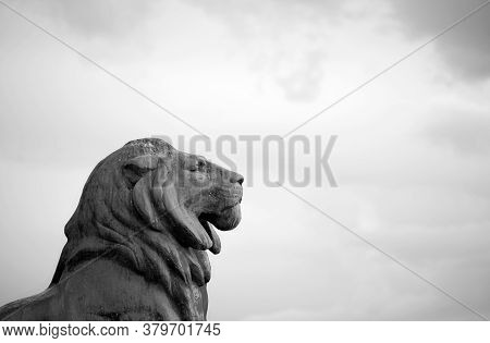 Bronze Lion Statue Against A Cloudy Sky In Madrid, Spain