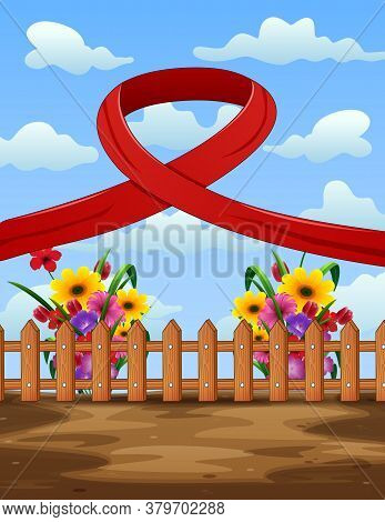 Background Of World Aids Day With Red Ribbon