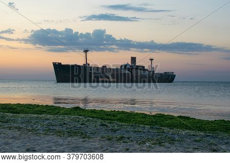 A Shipwreck. An Old Wreck Abandoned At Sea. The Wreck Of The Ship
