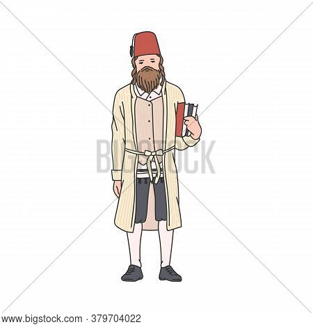 Jewish Man In Traditional Purim Costume - Cartoon Jew In Red Hat And Robe