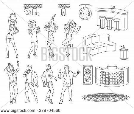Night Club Dance Floor Set With Dancing Cartoon People, Party Lights